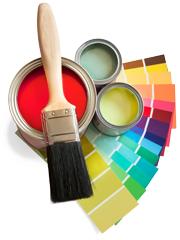 paint brush, paint cans and color swatches
