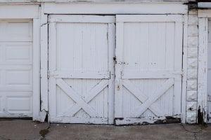 Garage door with peeling paint