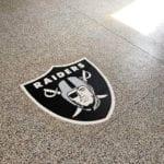Epoxy Garage Floor with Raiders Logo