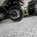 Epoxy Garage Floor with Motorcycle Rear