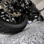 Up Close Motorcyle on Epoxy Garage Floor in Sacramento